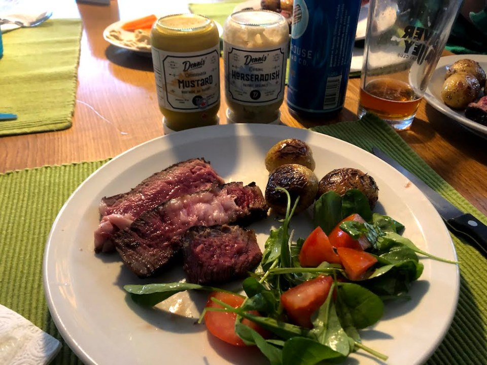 Trying out some of Dennis' Horseradish alongside some perfectly done (for me) steak courtesy of Charlie's Burgers.