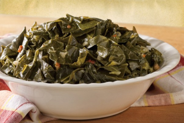 A bowl of fresh, cooked collard greens