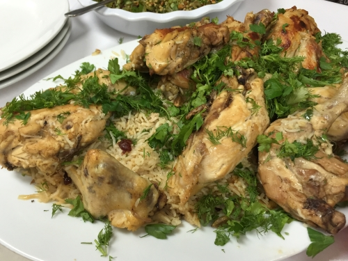 Our teams Chicken with Caramelized onions and Cardamon rice.