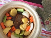 Add vegetables to marinaded and browned roast.