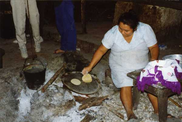 Making tortillas in the backyard, Tulum, Mexico