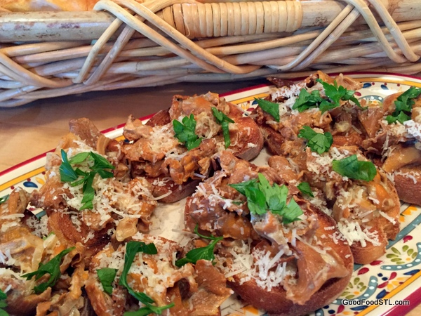 Chanterelles mushrooms on baguettes. An ambrosial feast!