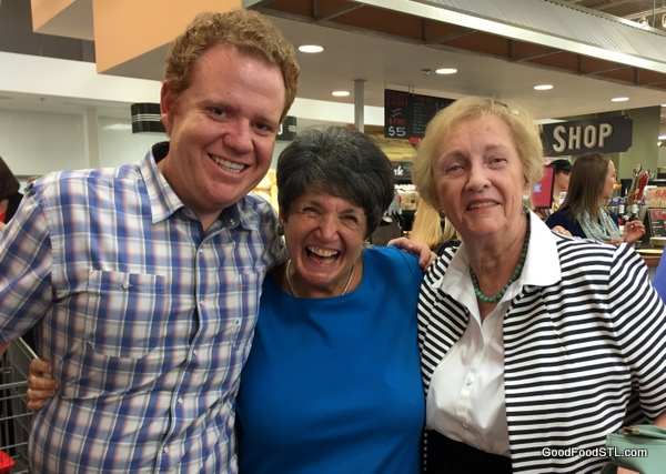 Lucky's Market Owner/Founder Bo Sharon; St. Louis family member Nicky Antoniou; and Jean Carnahan