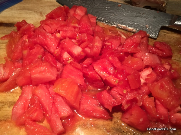 Tomatoes chopped and ready for the sauce.