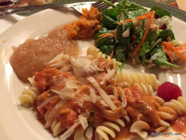 Creamy Vodka Sauce on Pasta with salad and homemade applesauce
