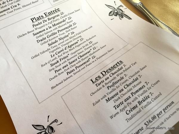 Cafe Provencal menu *