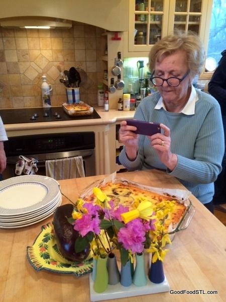 Jean photographing eggplant mousakka