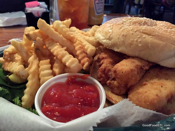 """Pub Grub"" at Seamus McDaniel's. Cod Fish sandwich with fries."