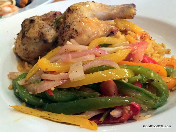 Purple Martin cornish hen rice peppers
