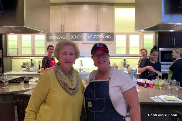 Before class, Jean Carnahan visits with Marianne Moore, Culinary Director for Dierberg's Culinary Program.