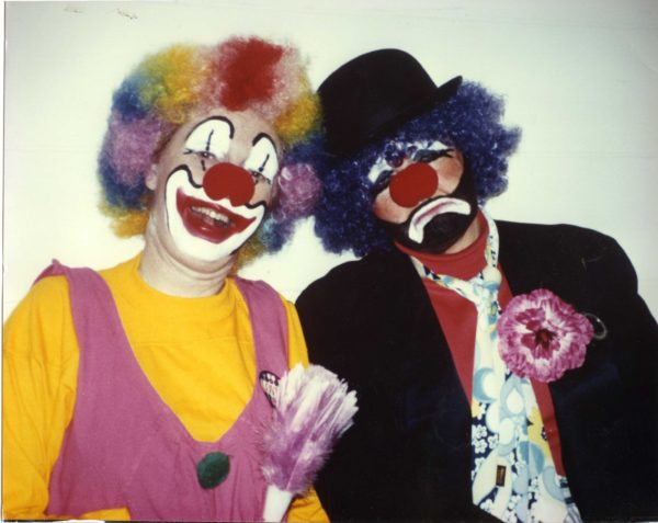 Jean Carnahan and Judy Dean as clowns