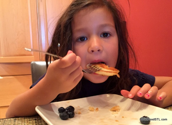 Granddaughter Coco eating pancakes