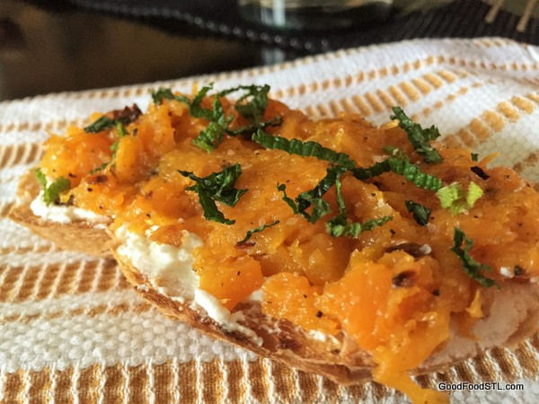 Butternut squash, ricotta on toast