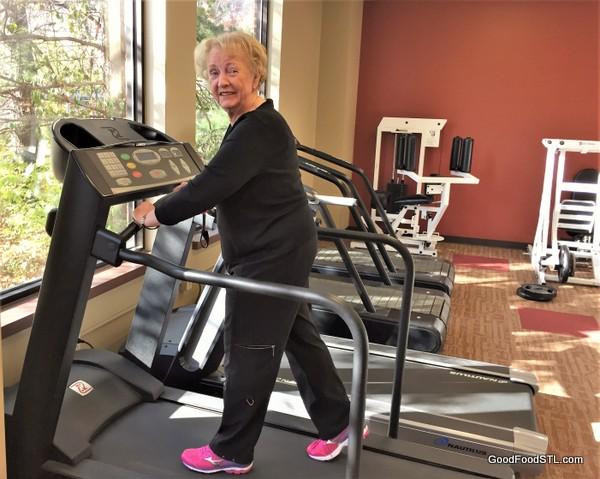 On treadmill at gym