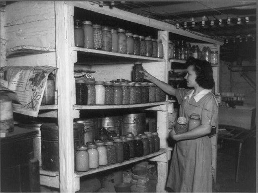 shelves of canned food in the 1940s
