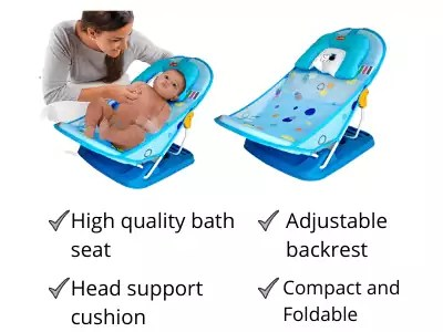 LuvLap Hippo Dippo Baby Bather for Newborn and Infants, Compact and Foldable