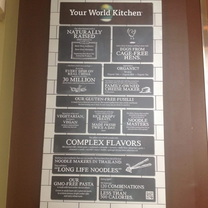 Noodles and Company sign about nutrition