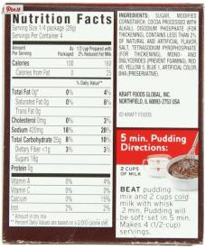 Jello pudding ingredient list