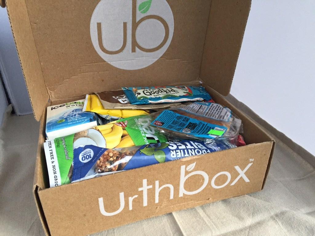 Urthbox stuffed with gluten free snacks