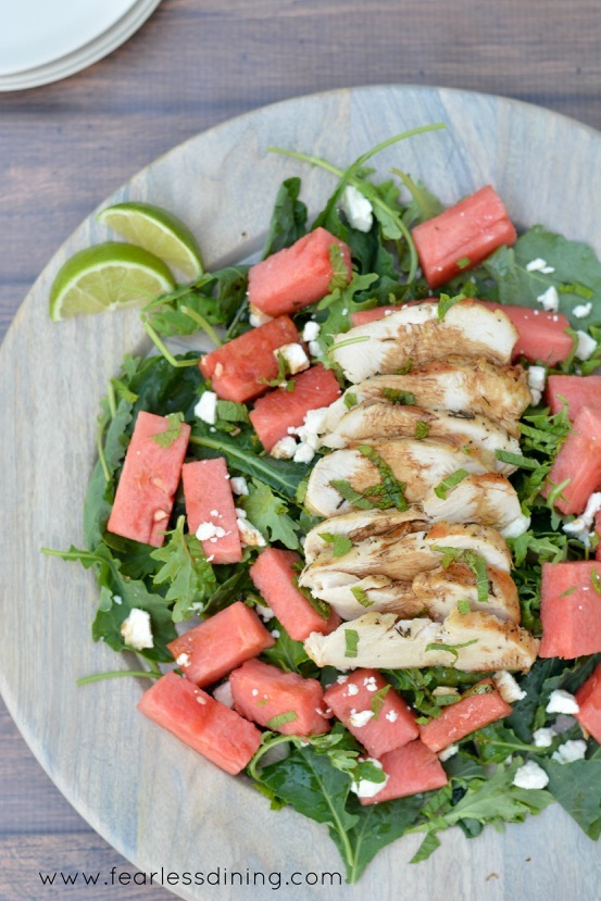 Grilled Chicken and Watermelon over Baby Kale recipe by Fearless Dining
