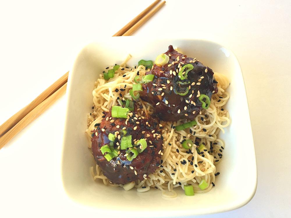 Gluten-Free Asian Sesame Meatballs with Ramen
