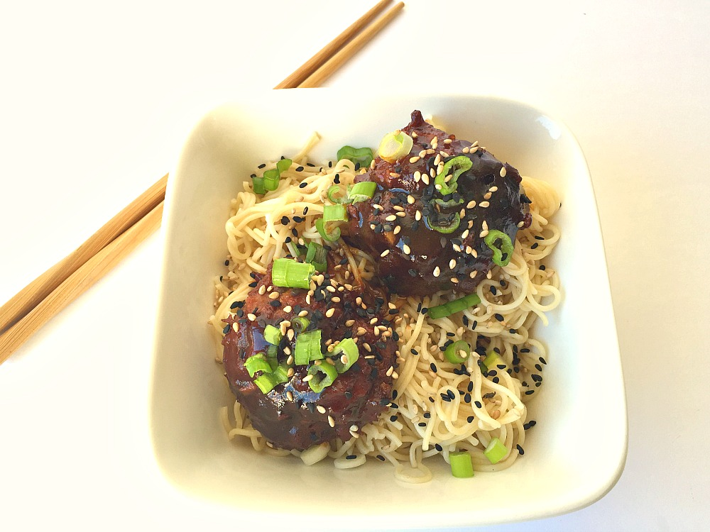 Gluten-Free Asian Sesame Meatballs with Ramen