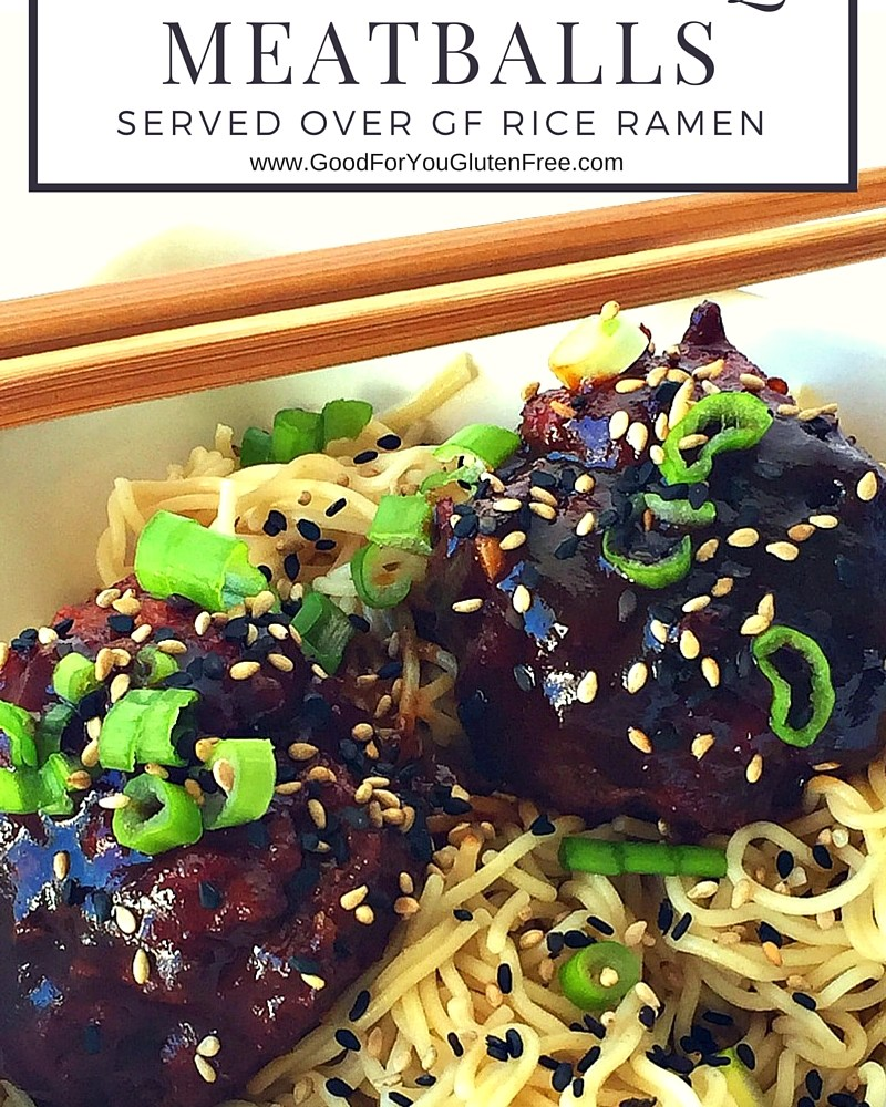 Gluten-Free Asian-Sesame Meatballs with Rice Ramen