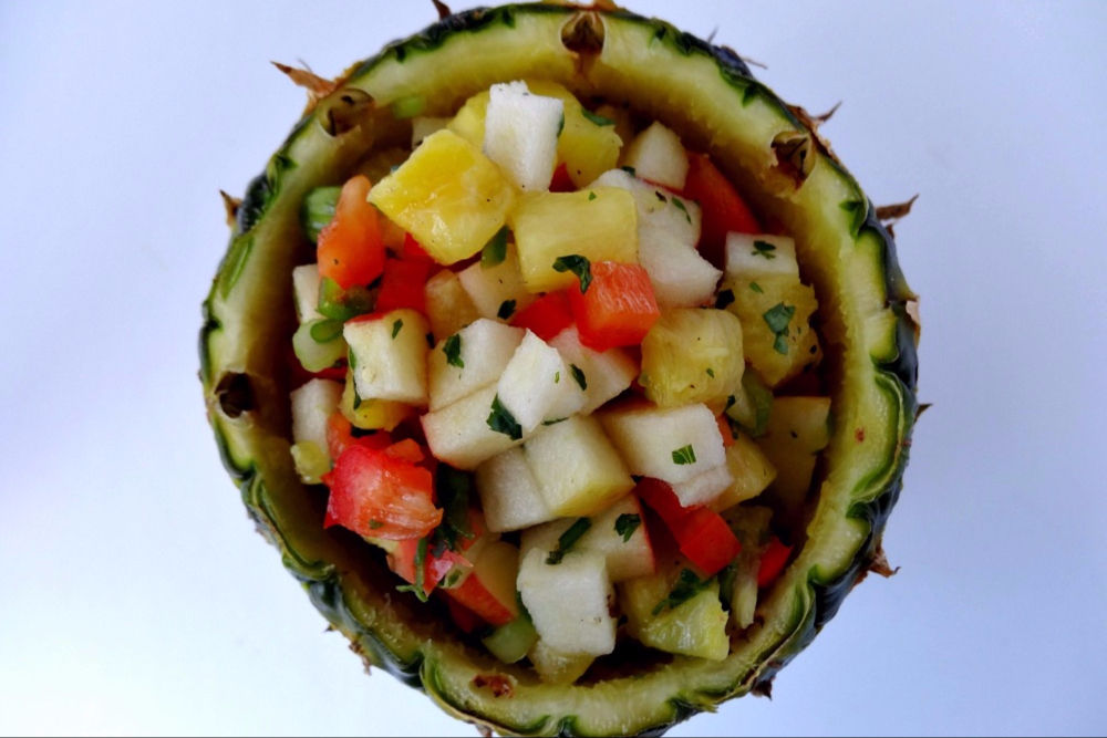 Gluten-Free Pineapple Salsa Recipe Served Inside a Cored Pineapple