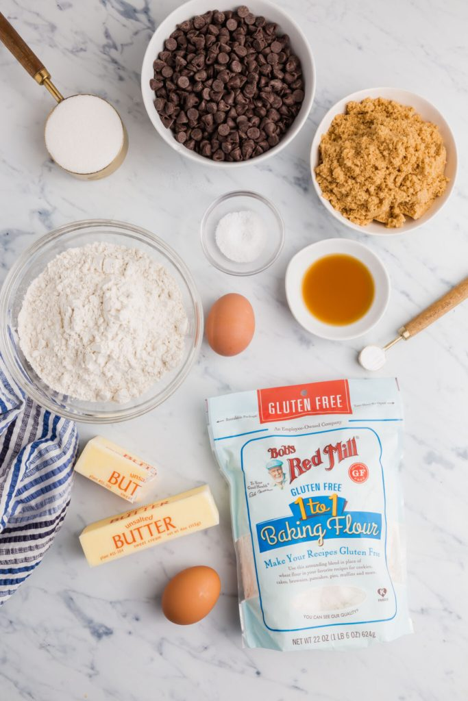 Image of Bob's Red Mill 1:1 gluten-free flour, butter, eggs and other ingredients for the cookies