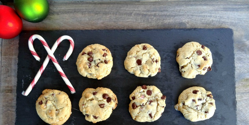 Gluten-Free Chocolate Chip Cookies with Peppermint Extract and Candy Canes
