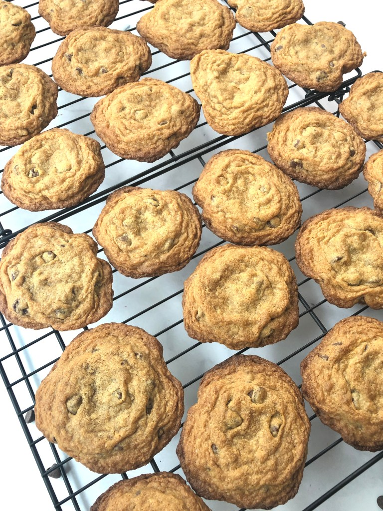 gluten-free chocolate chip cookies cooling on wire rack