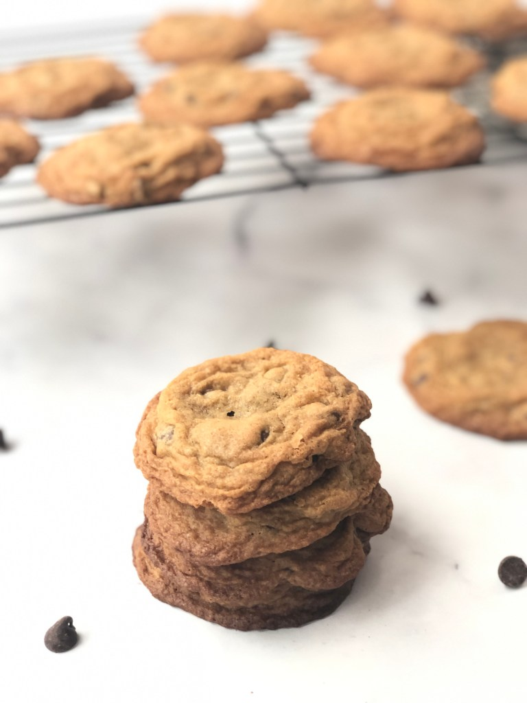Stack of gluten-free chocolate chip cookies