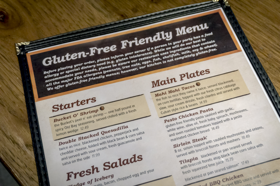Gluten-Free Menu at The Rusty Bucket