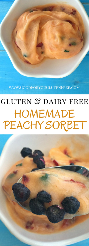 Palisade Peachy Sorbet - This gluten-free sorbet recipe is made from fresh peaches, bananas and mint from my garden. It's topped with freeze dried blueberries. - Good For You Gluten Free
