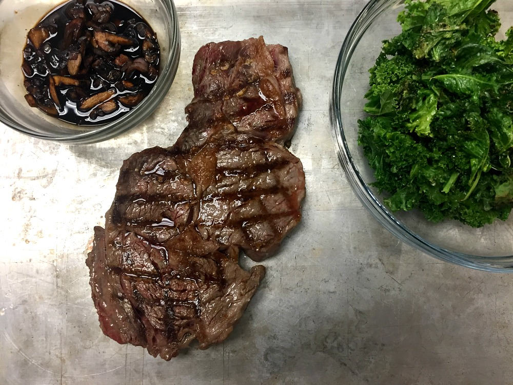 Grilled Ribeye with Balsamic Glaze and Kale 1