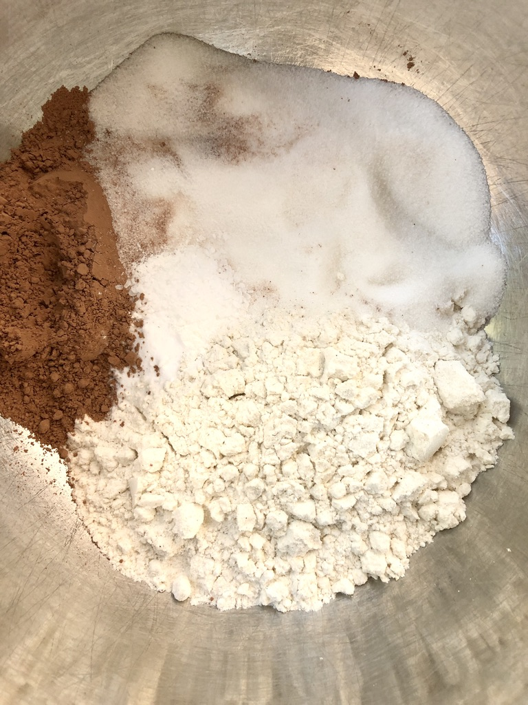 Sifted together dry ingredients for gluten-free donut recipe