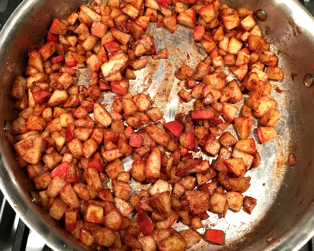 Diced apples cooked in brandy and spices