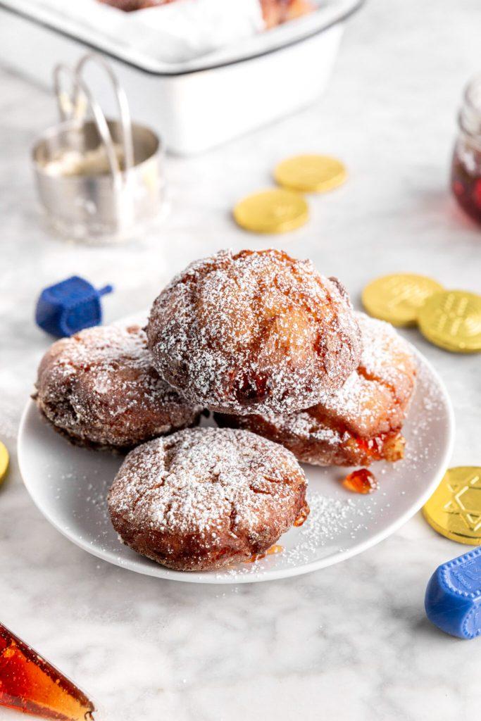 gluten-free sufganiyot jelly donuts with hanukkah decor