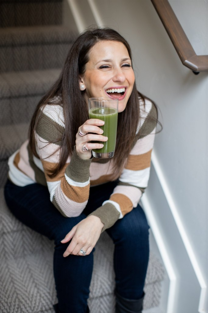 picture of me drinking green juice