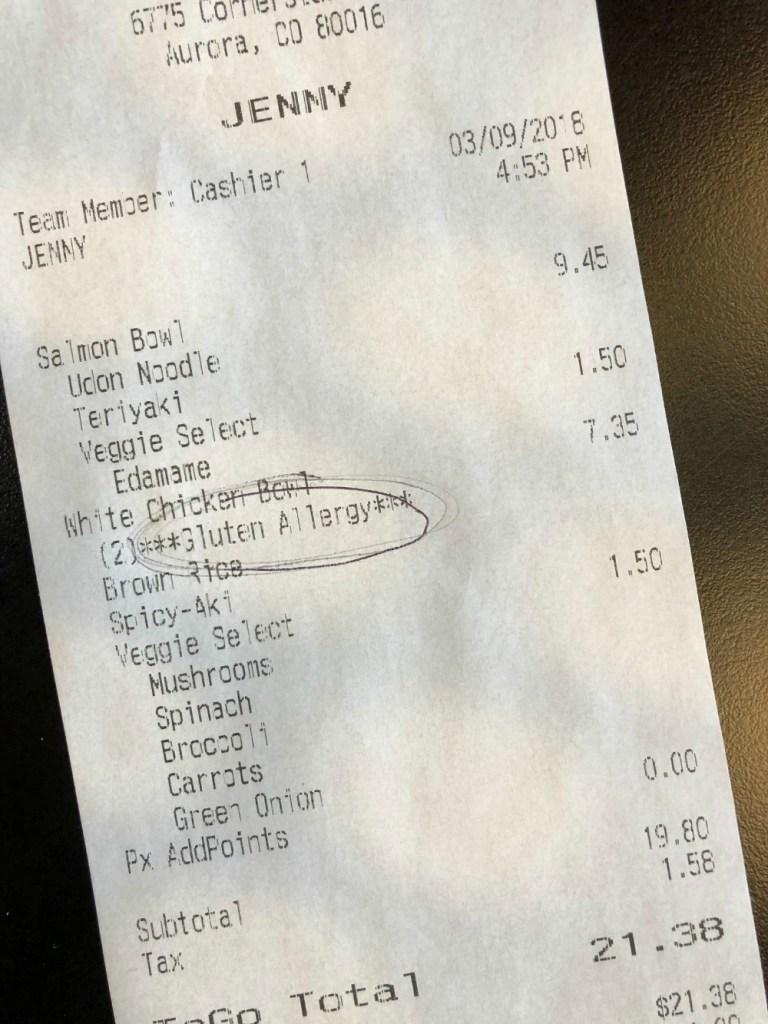 Gluten Allergy labeled on order receipt