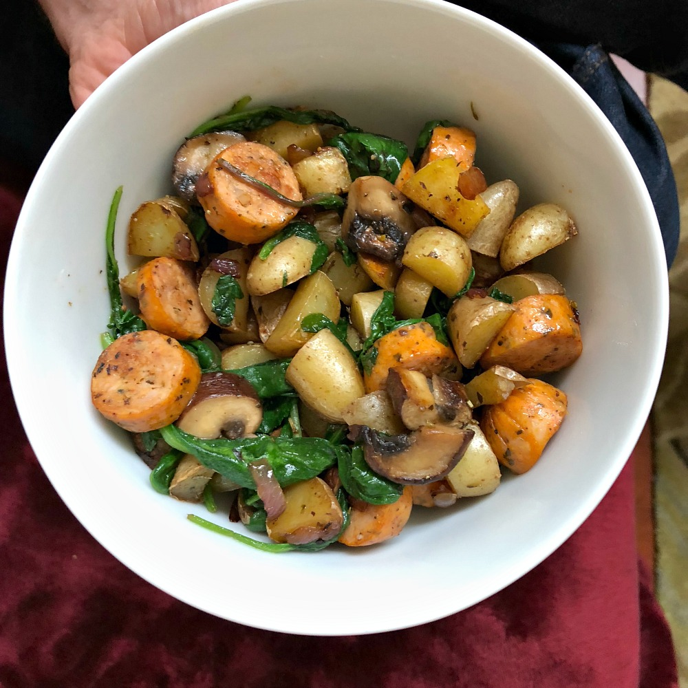 Whole 30 Recipe Idea for Dinner - Chicken Sausages with vegetables and potatoes