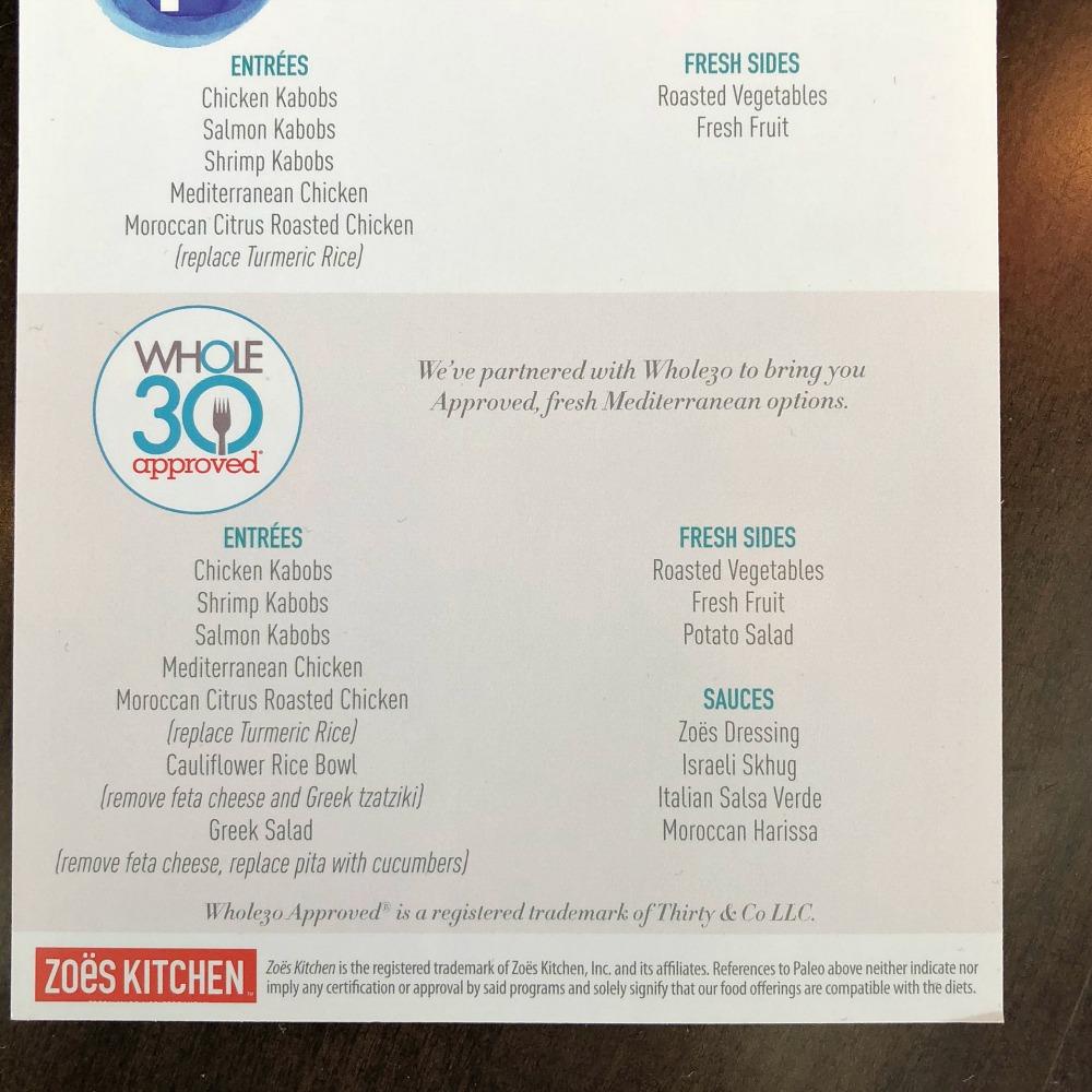 Whole30 menu at Zoes Kitchen