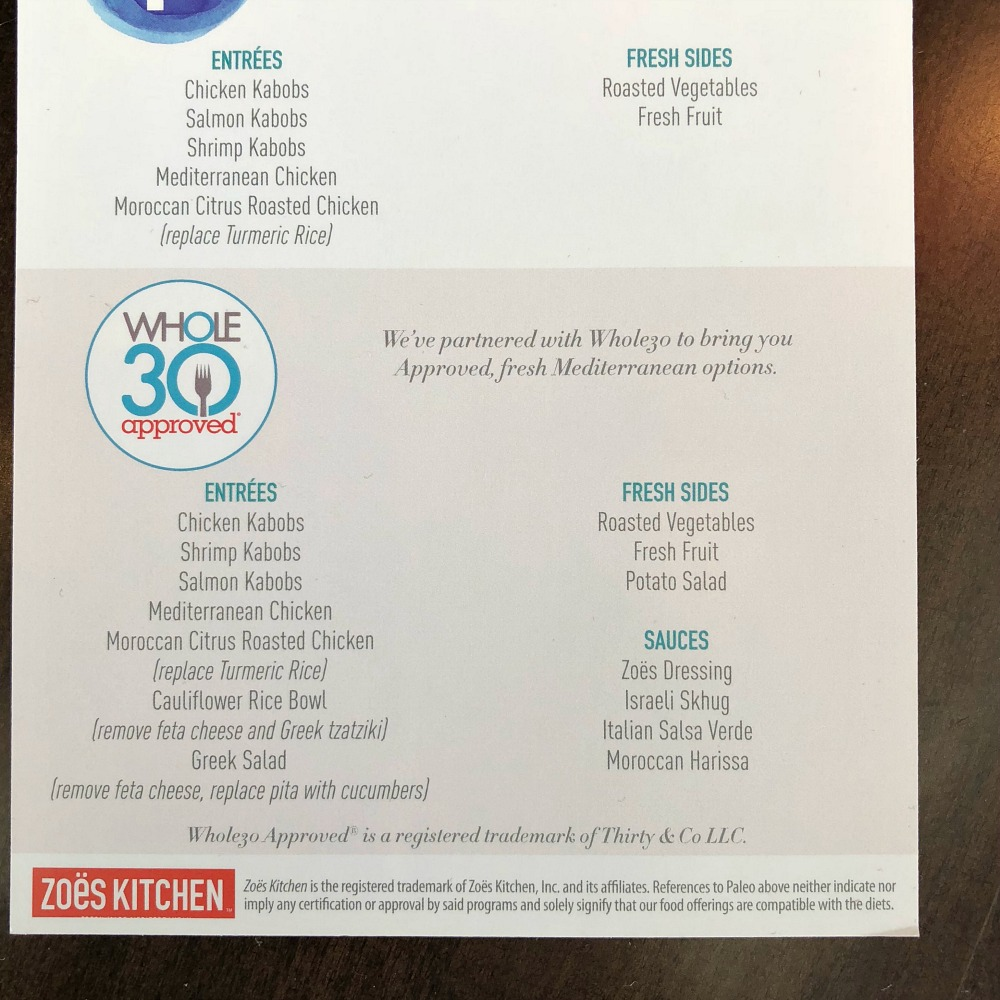 Whole30 menu at Zoes Kitchen
