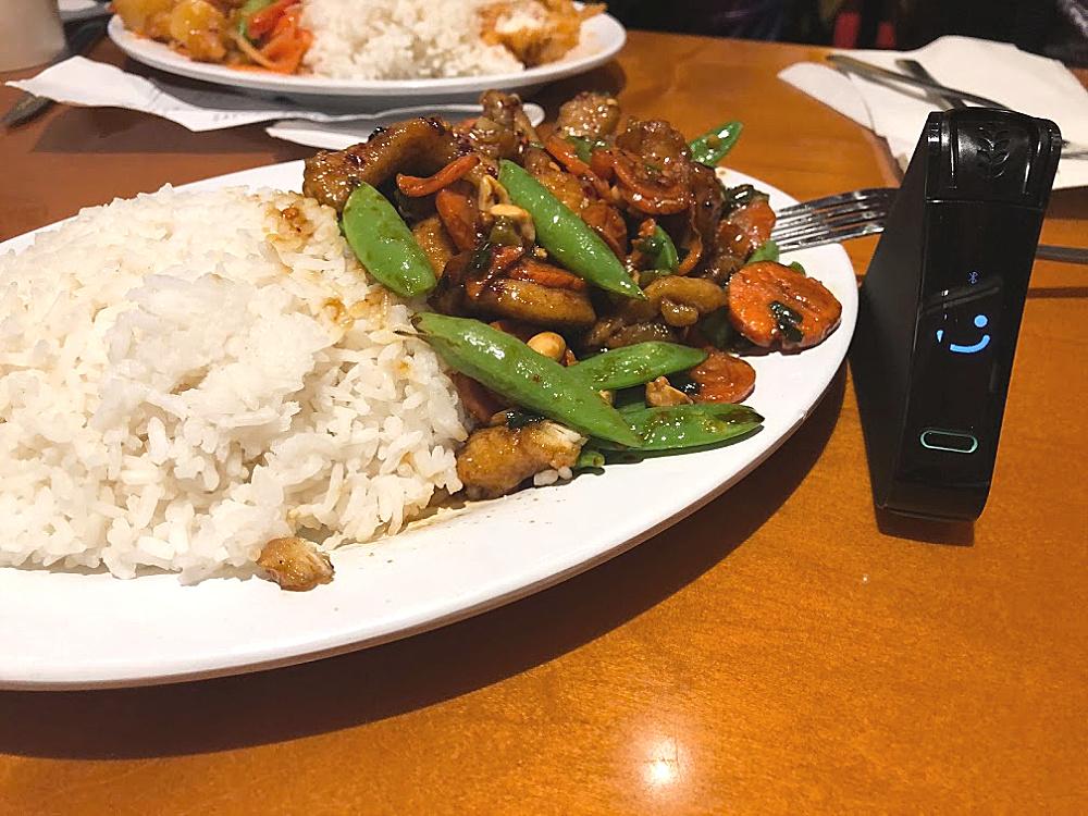 Pei Wei gluten-free Kung Pao chicken and Nima Sensor smiling