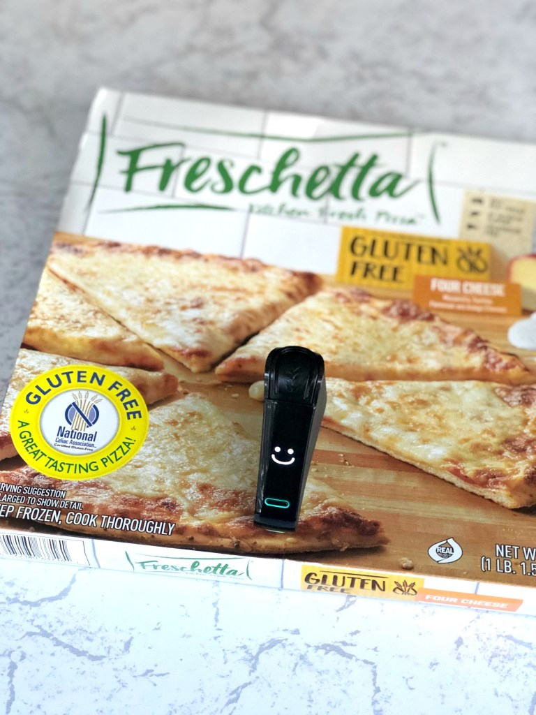 Freschetta gluten-free pizza box with Nima Sensor smile