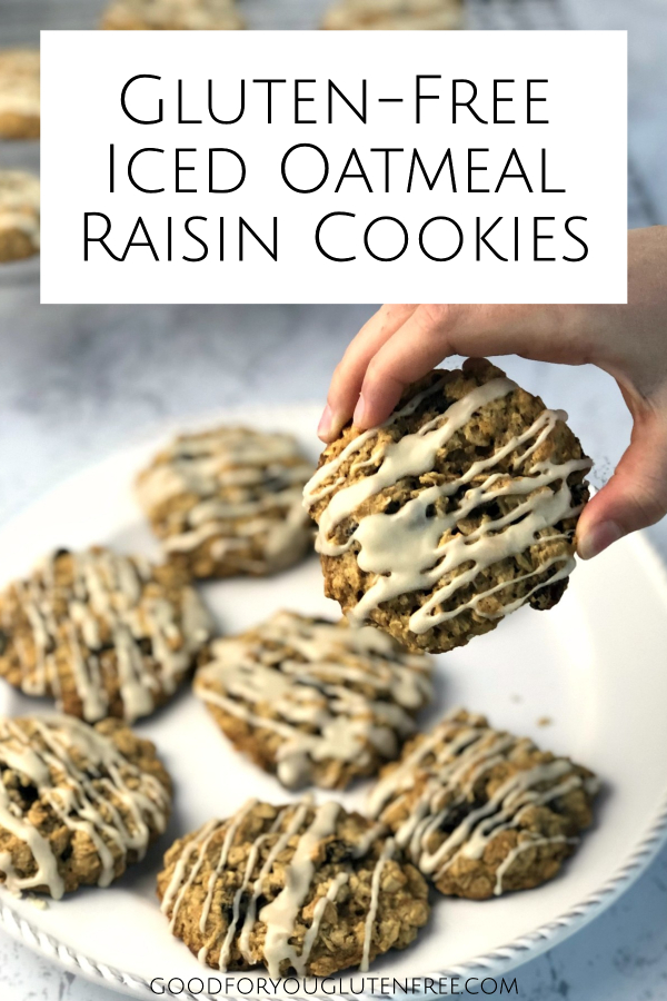 Gluten-Free Iced Oatmeal Cookies - Good For You Gluten Free #glutenfree #glutenfreecookies #oatmealcookies