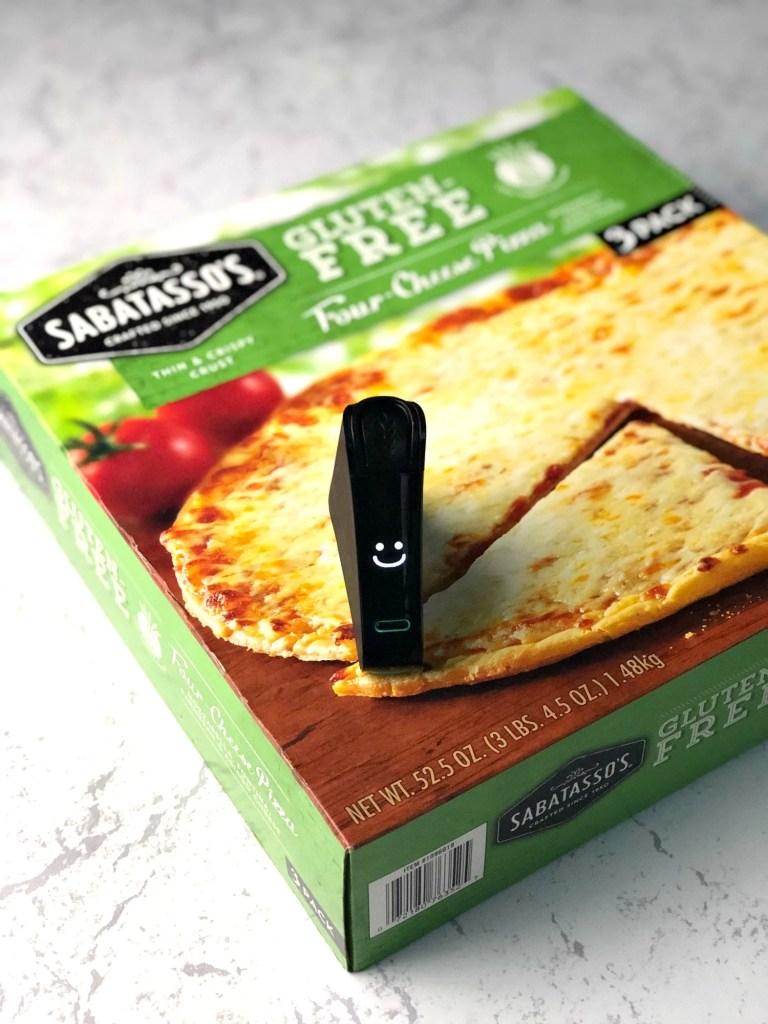 Sabatassos gluten-free four cheese pizza box with Nima Sensor smile