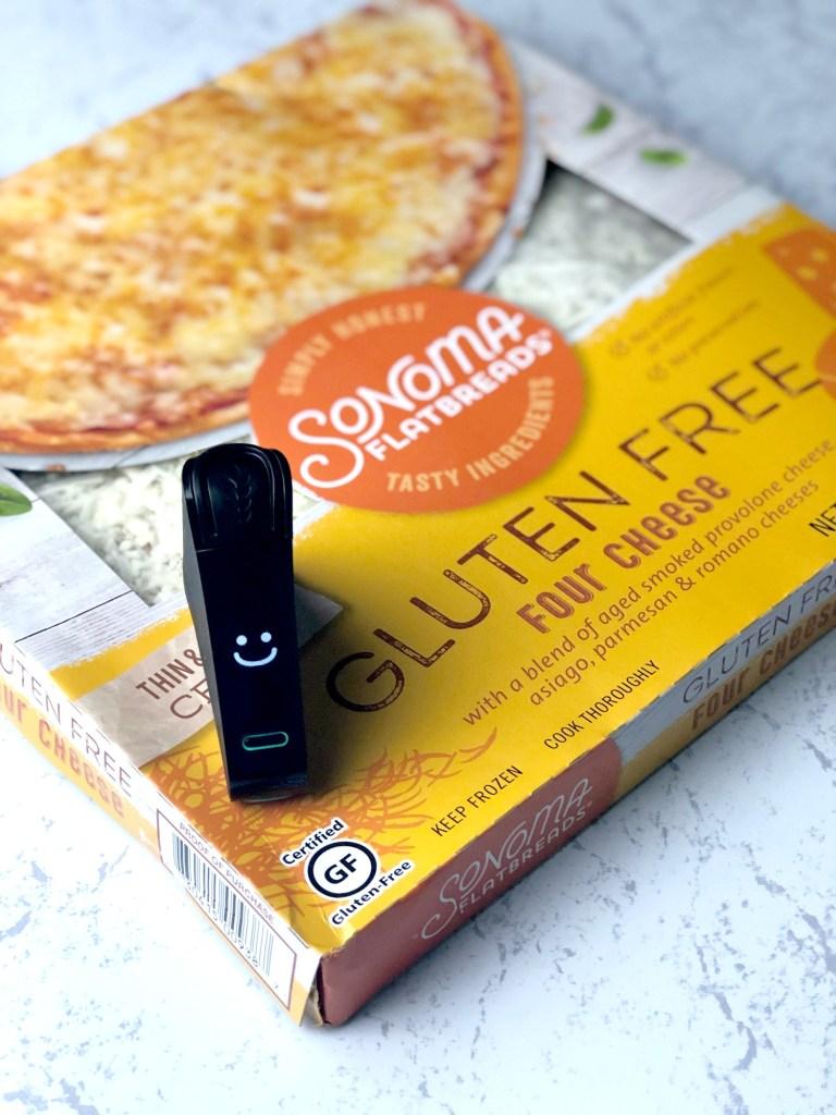 Sonoma Flatbreads gluten-free pizza box with Nima Sensor smile