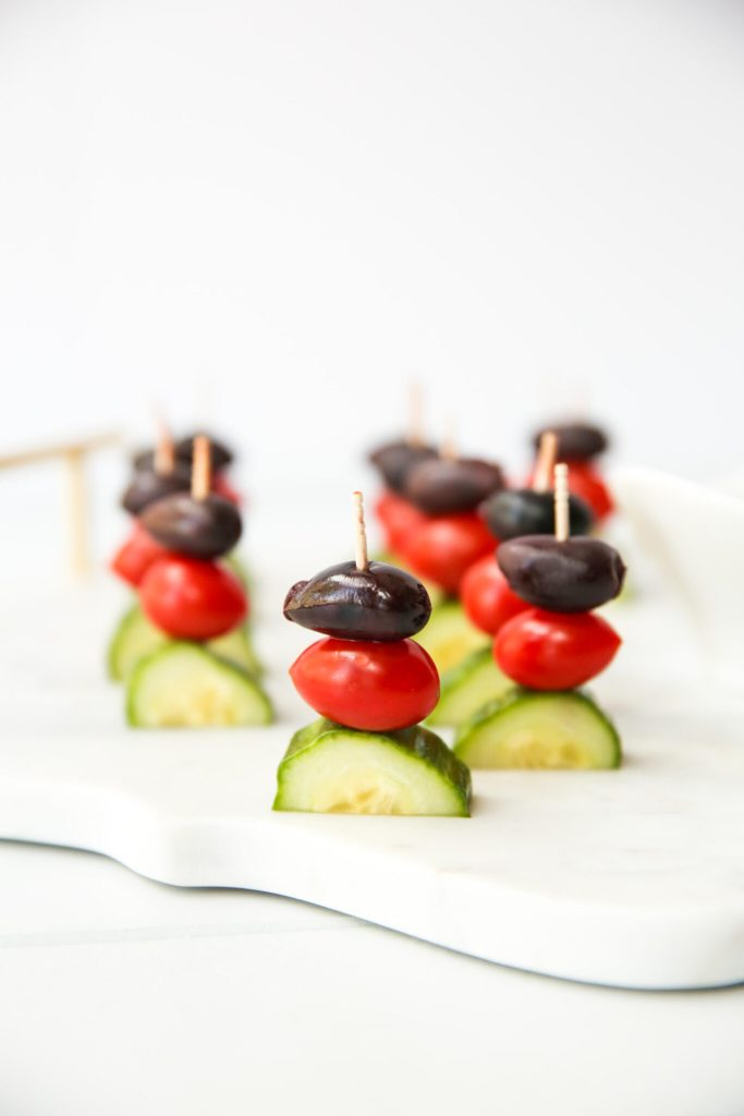 Greek Salad Kabobs appetizer close up