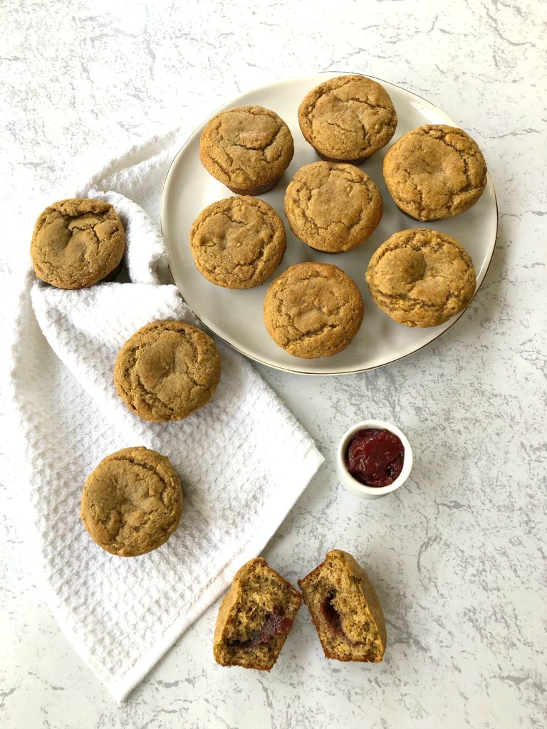 Gluten-Free Peanut Butter and Jelly Almond Flour Muffins - overhead head shot